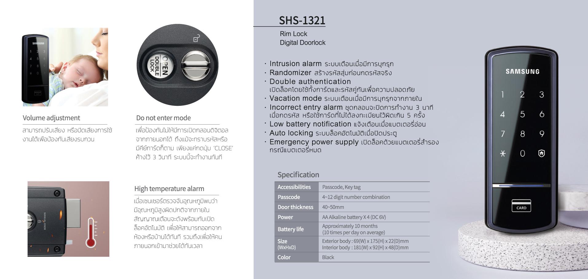 Rim Lock Samsung Smart Lock SHS-1321
