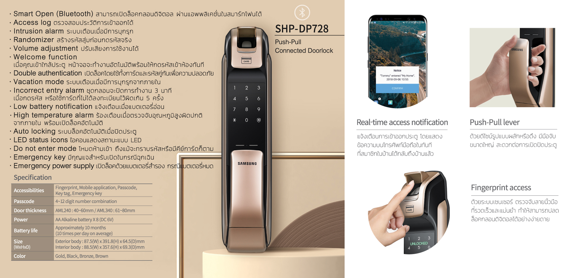 Samsung Digital Door Lock 728, ประตูดิจิตอล Samsung